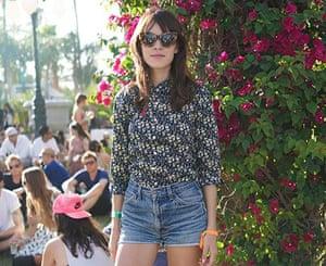 Alexa Chung wearing shorts at Coachella