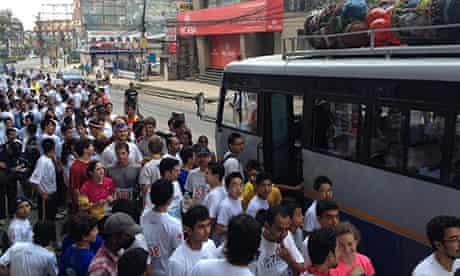 Chaos at the start of the Kathmandu marathon