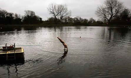 Out in the cold … swimmers at Hampstead men's pond.