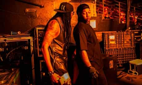 2 Chainz gets ready to go on stage with Lil Wayne