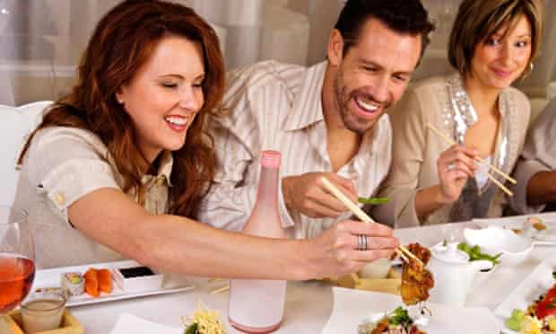 Friends eating in a restaurant