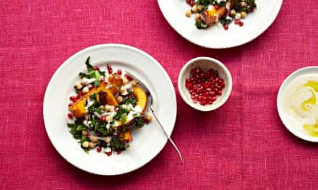 Eat the rainbow: a pumpkin, pomegranate and tahini salad