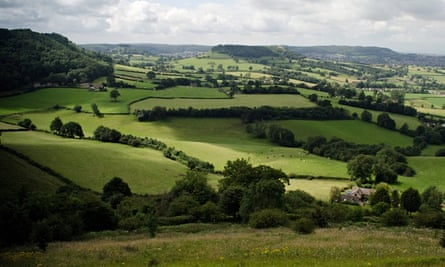 The Cotswold Way: The view south from Coaley Peak