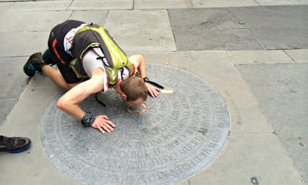 Damian Hall appreciating the fine pavements of Bath at the end of the Cotswold Way Century.