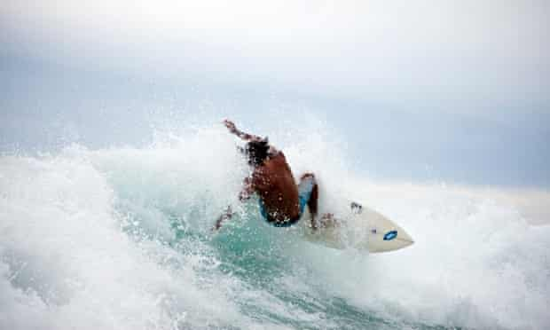 A surfer in Out in the Line-up
