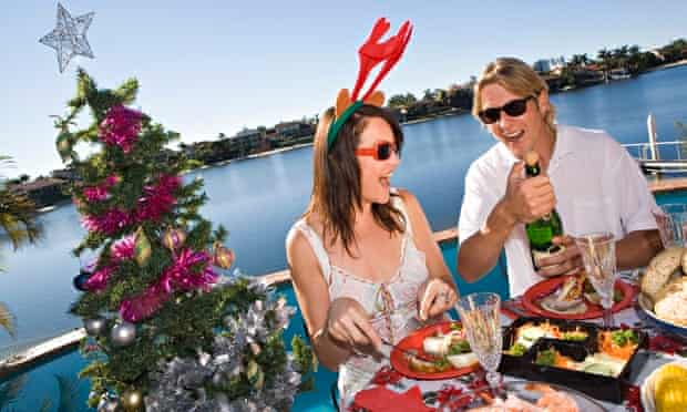 Couple eating Christmas dinner abroad