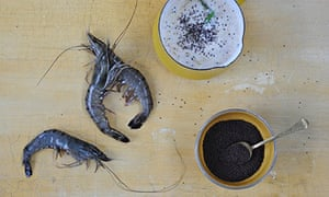 king prawns baked with mustard and coconut