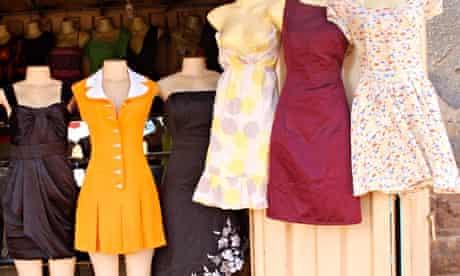 Short dresses for sale on the roadside near Kabalagala in Kampala, Uganda
