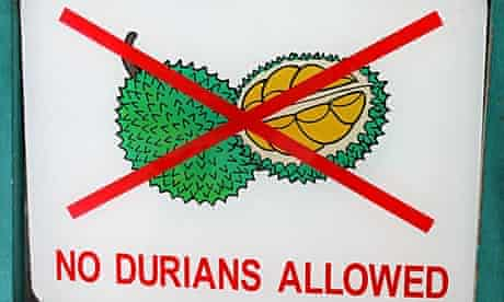 'No durians allowed' sign