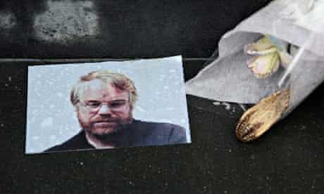 A makeshift memorial outside Philip Seymour Hoffman's apartment in New York.