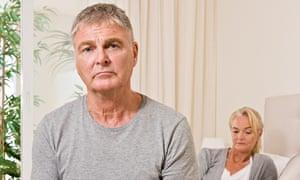 Worried couple in the bedroom