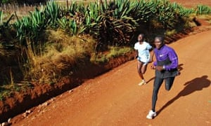 Japhet (at the back) running with Shadrack in Iten