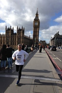 Just nipping out of the office for a run … Sadiq Khan MP on the streets of Westminster