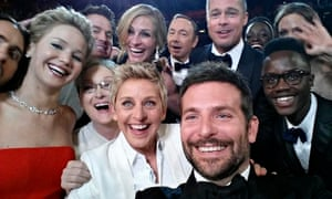 Movie stars at the Oscars, posted by show host Ellen DeGeneres