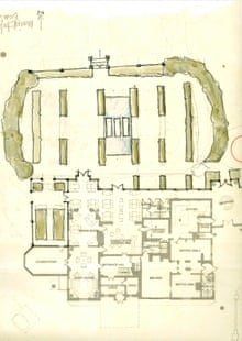 A sketch of landscaping plans for the Oaksmere hotel