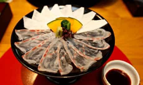 Sashimi grouper and sliced radish with sea tangle