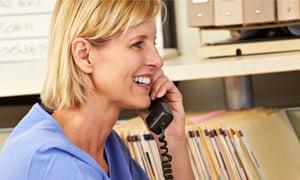 A nurse on the phone