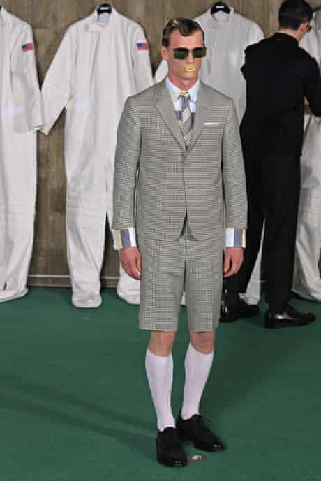 A model wearing Thom Browne.