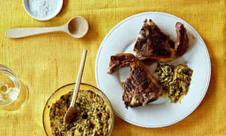 Uchucuta sauce with lamb chops