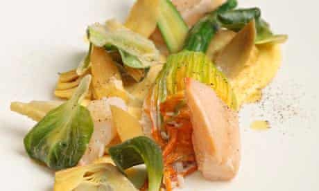 Crab, courgette flower, rouille and chicory at Marcus
