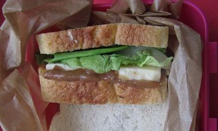 Cheese and rhubarb ketchup sandwich