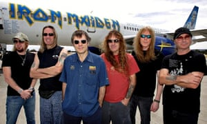 Iron Maiden in front of their Boeing 757
