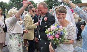 Lucy Chamberlain's homegrown wedding bouquet