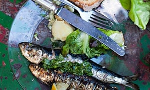 Get-togethers: grilled sardines with broa (cornbread) and boiled potatoes