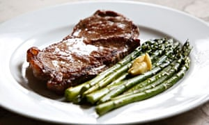 Sous-vided steak and asparagus
