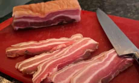 Homemade bacon sandwich: preparing the pork belly