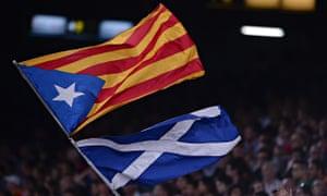 The Catalan estelada and the Scottish saltire