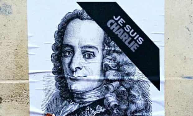 Voltaire on a <em>Je suis Charlie</em> poster