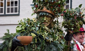 The Holly Man at a wassailing event