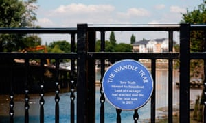 The Wandle trail sign at the River Wandle in Wandsworth
