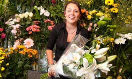 Florist Storm Emin with flowers