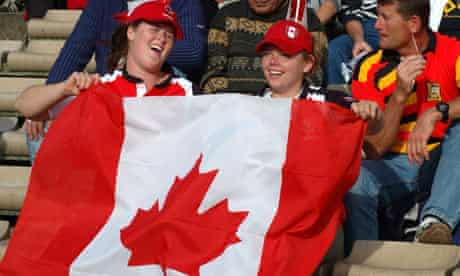 Rugby fans with Canadian flag