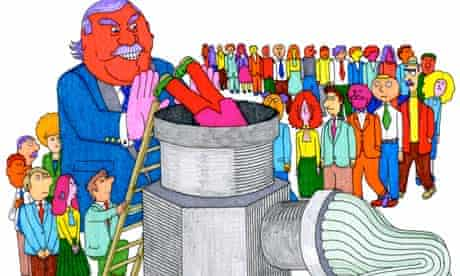 Illustration of boss pushing workers into mincer