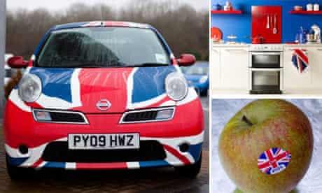 Nissan with union flag, kitchen, apple