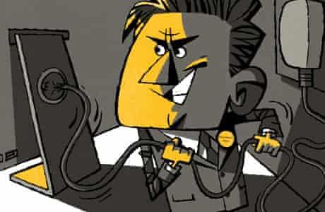 Illustration of man pulling plug