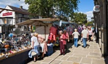 Market stalls on the High Street in Skipton