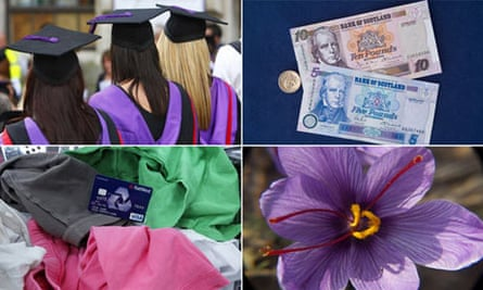 composite of students, money, saffron flower and washing