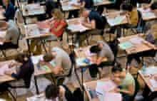 University students in exam room
