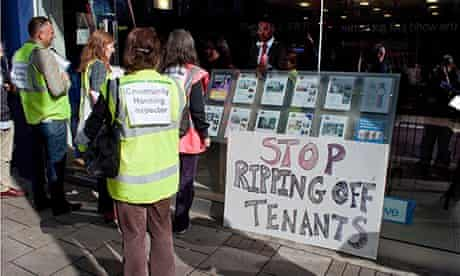 Estate agents office and protestors