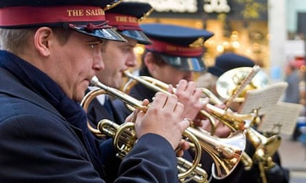 trumpet players in a Salvation Army brass band
