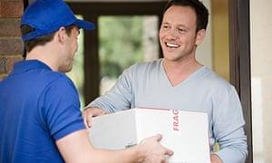 Man having a parcel delivered