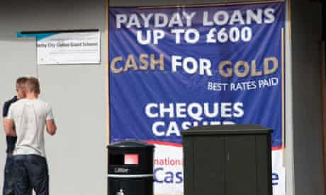 Sign for payday loans and cash for gold in a U.K. city.. Image shot 07/2011. Exact date unknown.