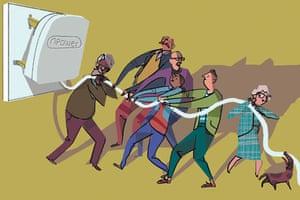 illustration of people pulling giant plug