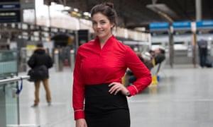 model wearing red virgin blouse
