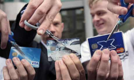 customers cut up bank cards