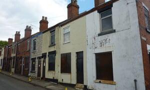 boarded up houses in Harper Street Stoke